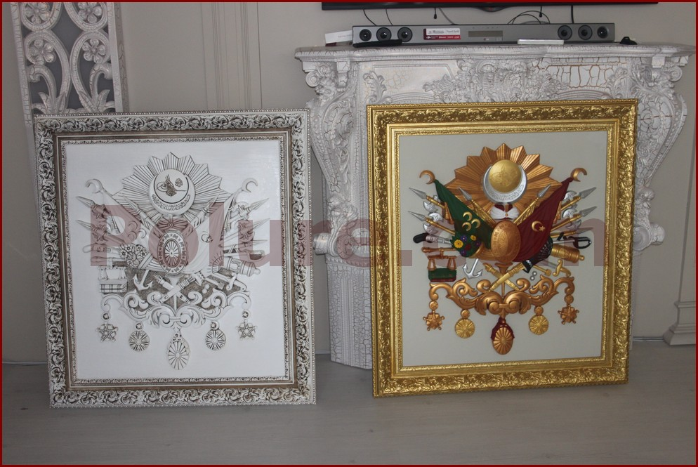 Ottoman coat of arms with aging,gold leaf,silver leaf painted models.