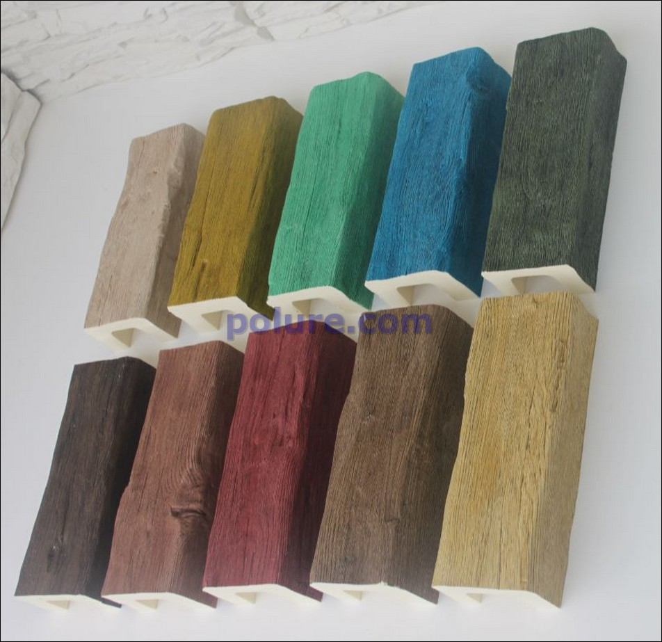 Polyurethane wooden look ceiling beams with different colors and 9 cm width and 6 cm depth.