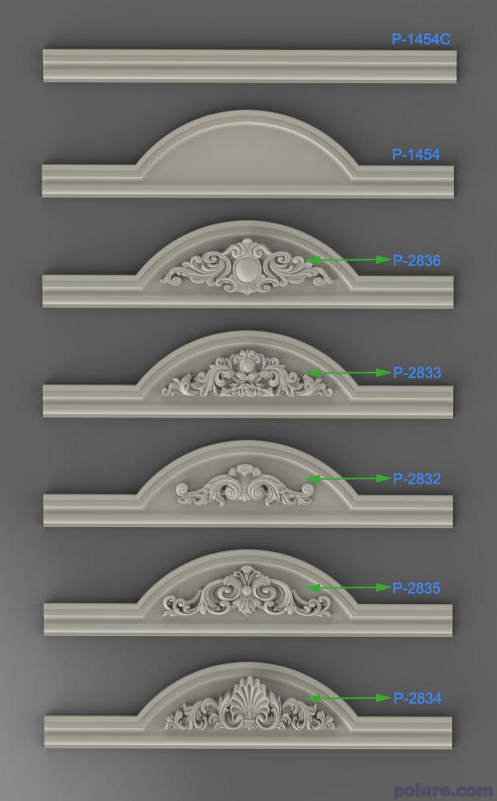 New polyurethane door crown six different crown models.