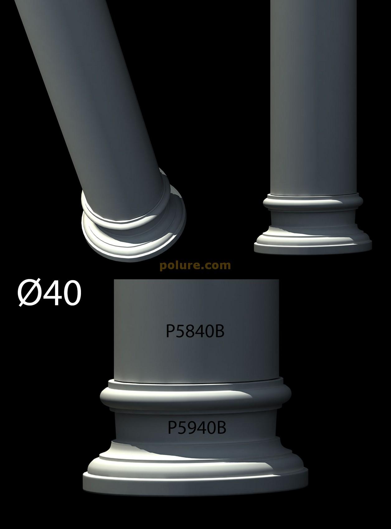 p-5285-polyurethane-decorative-40-diameter-column-capital-pu-molding-decoration-bases-fluted-plain-model