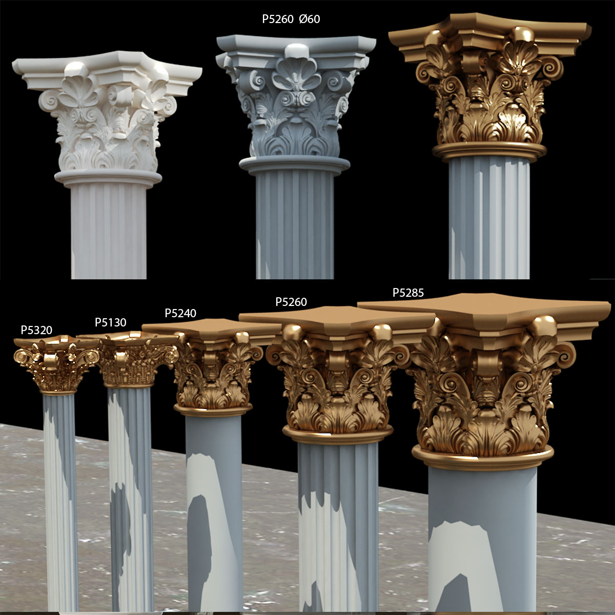 Polyurethane Decorative 40 Cm Diameter Column Capital Pu