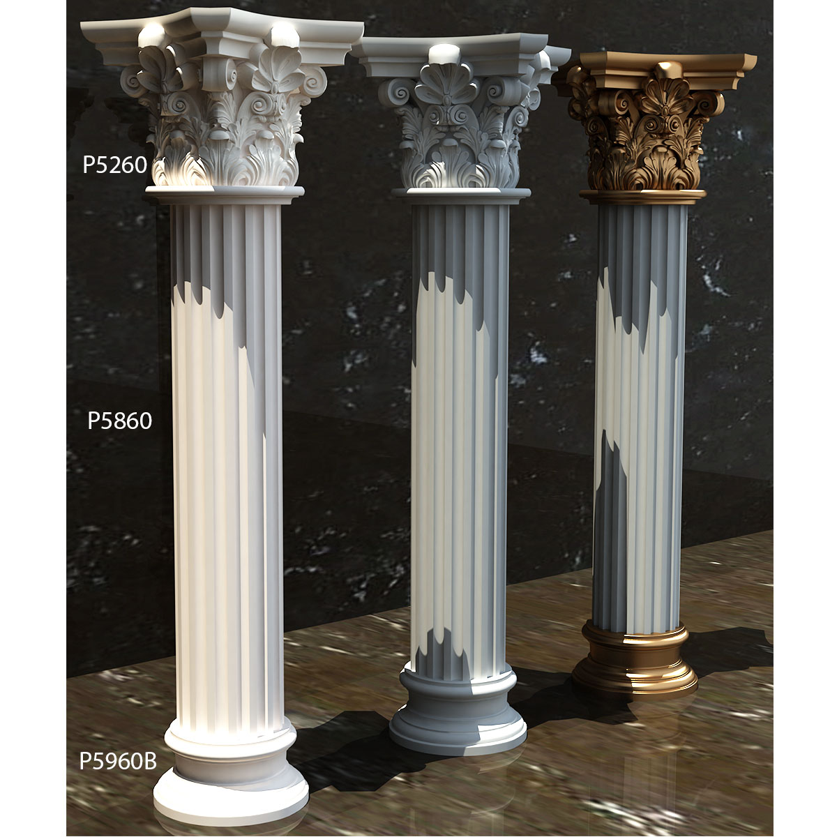 polyurethane-decorative-40-diameter-column-capital-pu-molding-decoration-base-fluted-plain-corinthian-motif-models