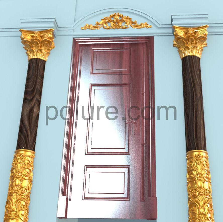 Polyurethane wooden-like lath models.Polyurethane dooo crown designs.Column and column capital models,floral ivy motif patterned column pillar with yellow gilded painting.